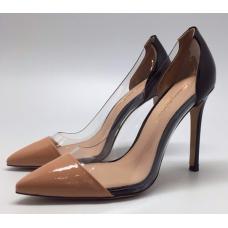 Женские кожаные лакированные туфли Gianvito Rossi Plexi коричневые с черным