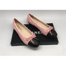 Женские брендовые  балетки Chanel Cruise комбинированные розовые с черным