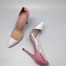 Женские кожаные летние туфли Gianvito Rossi Plexi белые с розовым