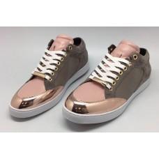Женские летние кожаные кроссовки Jimmy Choo розовые
