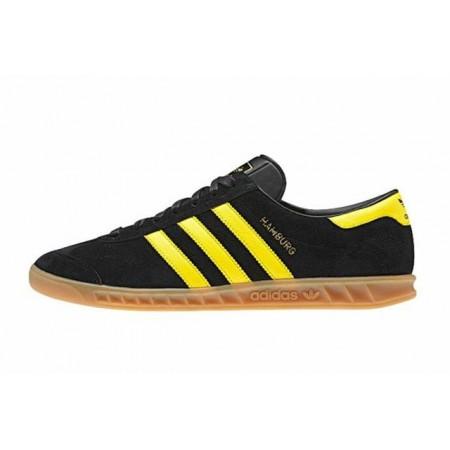 Эксклюзивная брендовая модель Мужские черные кеды  Adidas Hamburg Black/Yellow