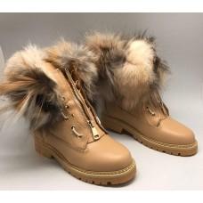 Зимние Ботинки Balmain Beige High II с Мехом
