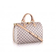 Женская кожаная брендовая сумка Louis Vuitton Speedy White