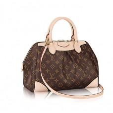 Женская брендовая кожаная коричневая сумка Louis Vuitton Broun V