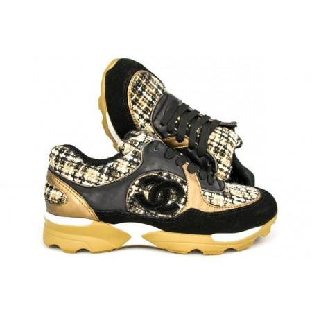 Эксклюзивная брендовая модель Женские брендовые кроссовки Chanel EX Sport коричневые