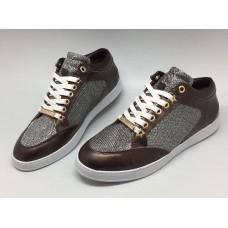 Женские летние кожаные кроссовки Jimmy Choo коричневые