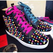 Женские высокие цветные кроссовки Christian Louboutin Pigalle