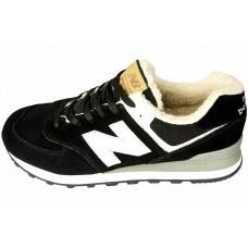 Зимние Кроссовки New Balance 574 Black/White с мехом