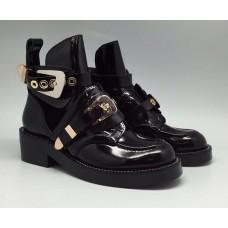 Женские летние лаковые ботинки Balenciaga черные с застежками