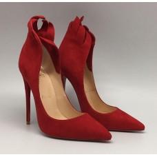 Женские замшевые красные туфли Christian Louboutin 12 см