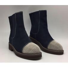 Женские зимние замшевые ботинки Brunello Cucinelli синие с украшением