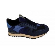 Женские замшевые кроссовки Valentino Garavani Rockstud синие