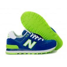 Женские летние кроссовки New Balance 574 Blue/Green/White со скидкой