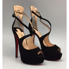 Женские замшевые босоножки на платформе Christian Louboutin черные