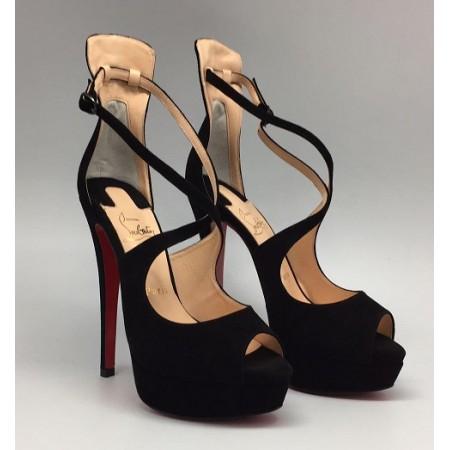 Эксклюзивная брендовая модель Женские замшевые босоножки на платформе Christian Louboutin черные