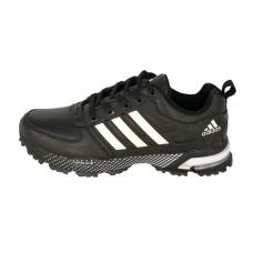 Мужские кожаные осенние кроссовки Adidas Marathon Flyknit черные