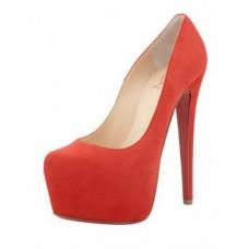 Женские замшевые туфли на платформе Christian Louboutin Pigalle красные