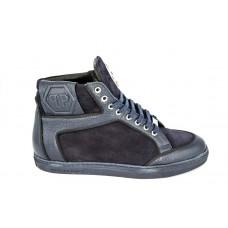 Мужские высокие осенние замшевые кроссовки Philipp Plein Anniston