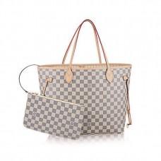 Женская  брендовая кожаная сумка Louis Vuitton NeverFull White