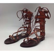Женские кожаные высокие сандалии Valentino Garavani Rockstud