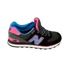 Женские цветные кроссовки New Balance 574 Black/Grey/Pink