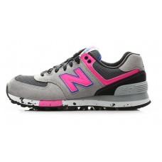 Женские летние кроссовки New Balance 574 Light Grey/Pink со скидкой