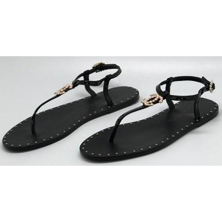 Эксклюзивная брендовая модель Женские брендовые кожаные сандалии Chanel Cruise черные на плоской подошве