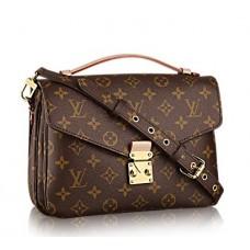 Женская  брендовая кожаная сумка Louis Vuitton Pochette Metis Broun