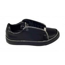 Женские кожаные кроссовки с молнией Philipp Plein Anniston черные