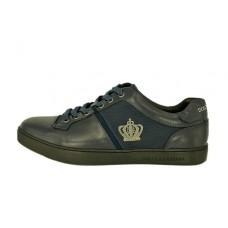 Мужские кожаные кроссовки Dolce&Gabbana синие с эмблемой
