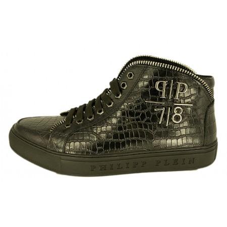 Эксклюзивная брендовая модель Мужские высокие осенние кроссовки Philipp Plein кожаные черные