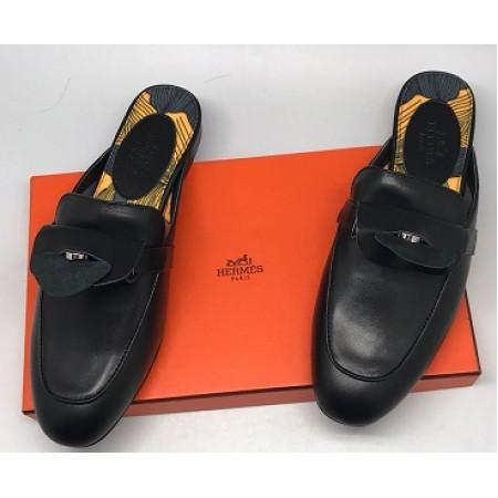 Эксклюзивная брендовая модель Женские кожаные лоферы Hermes черные