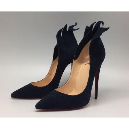Эксклюзивная брендовая модель Женские замшевые черные туфли Christian Louboutin 12 см
