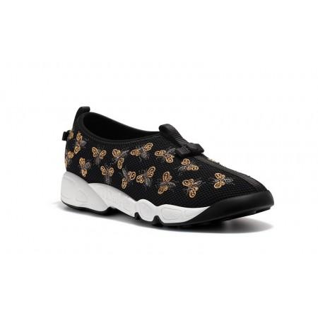 Эксклюзивная брендовая модель Женские летние кроссовки Christian Dior Low черные с вышивкой