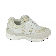Женские брендовые кроссовки Chanel EX Sport White/Gold