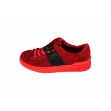 Женские замшевые кроссовки Valentino Garavani Rockstud красные