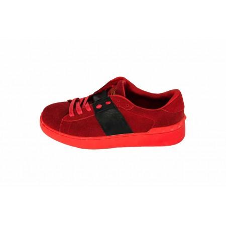 Эксклюзивная брендовая модель Женские замшевые кроссовки Valentino Garavani Rockstud красные