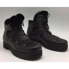Женская зимняя обувь Jimmy Choo черная с мехом