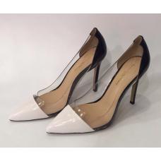 Женские кожаные лакированные туфли Gianvito Rossi Plexi белые с черным