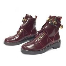 Женские осенние кожаные ботинки Balenciaga Leather Bordo