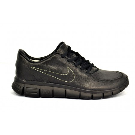Эксклюзивная брендовая модель Мужские кожаные кроссовки Nike Free Run 5.0 Black