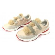 Женские зимние брендовые кроссовки Brunello Cucinelli Grey с Мехом