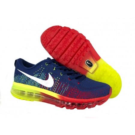 Эксклюзивная брендовая модель Кроссовки Nike Air Max Flyknit Blue/Red/Yellow