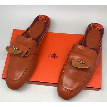 Эксклюзивная брендовая модель Женские кожаные лоферы Hermes коричневые