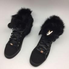 Женские зимние замшевые женские кеды Louis Vuitton Millenium черные
