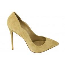 Женские замшевые бежевые туфли Christian Louboutin Pigalle