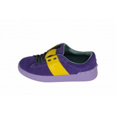 Женские замшевые кроссовки Valentino Garavani Rockstud синие с желтым