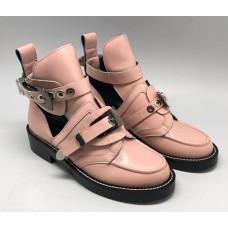 Женские летние лаковые ботинки Balenciaga розовые с застежками