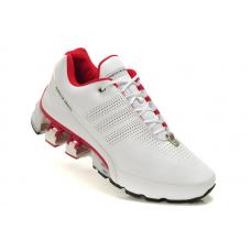 Мужские белые кожаные кроссовки Adidas Porsche Design Run Bounce SL P5000 (White/Red)