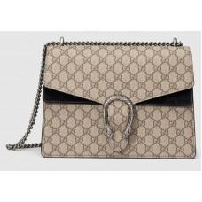 Бежевая хлопково-кожаная сумка через плечо Gucci Dionysus GG Supreme